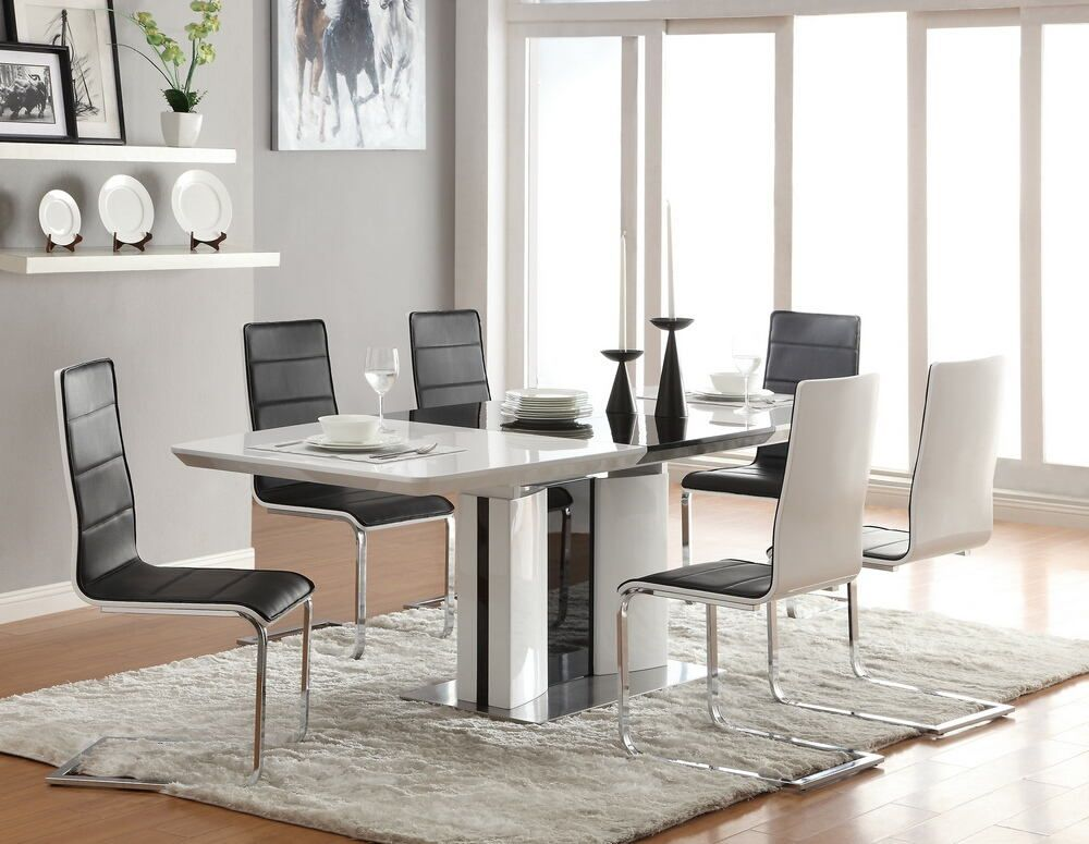 120941 48 5pc Broderick Modern White Black High Gloss Finish Dining Table Set White Dining Room Table Dining Room Furniture Modern Contemporary Dining Room Sets