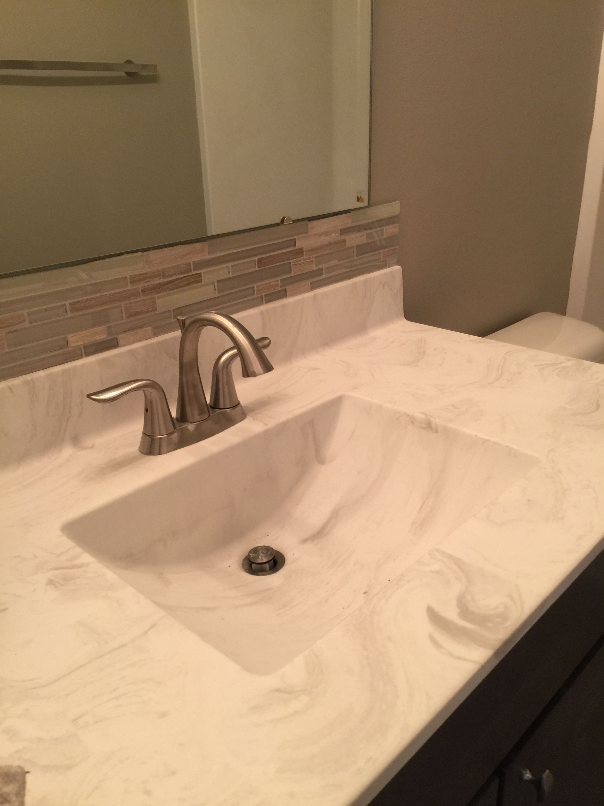 Bathroom Vanity Backsplash Stone And Glass Mosaic