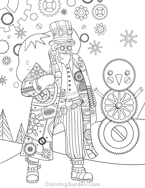 Free printable steampunk christmas adult coloring page Steampunk animals coloring book
