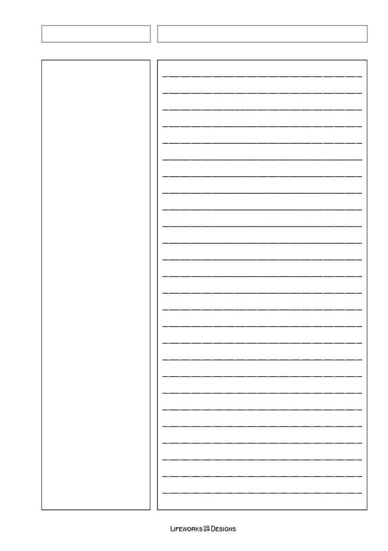 Cornell Notes Pages By Lifeworksdesign Etsy Cornell Notes Note Writing Paper Notes Template Cornell notes full size template