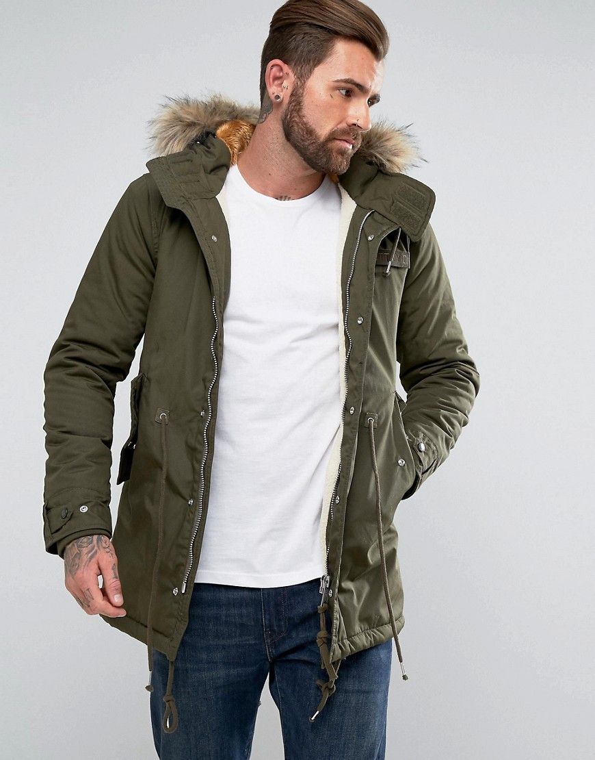 SCHOTT M51 FISHTAIL PARKA HOODED DETACHABLE FAUX FUR TRIM IN GREEN ...