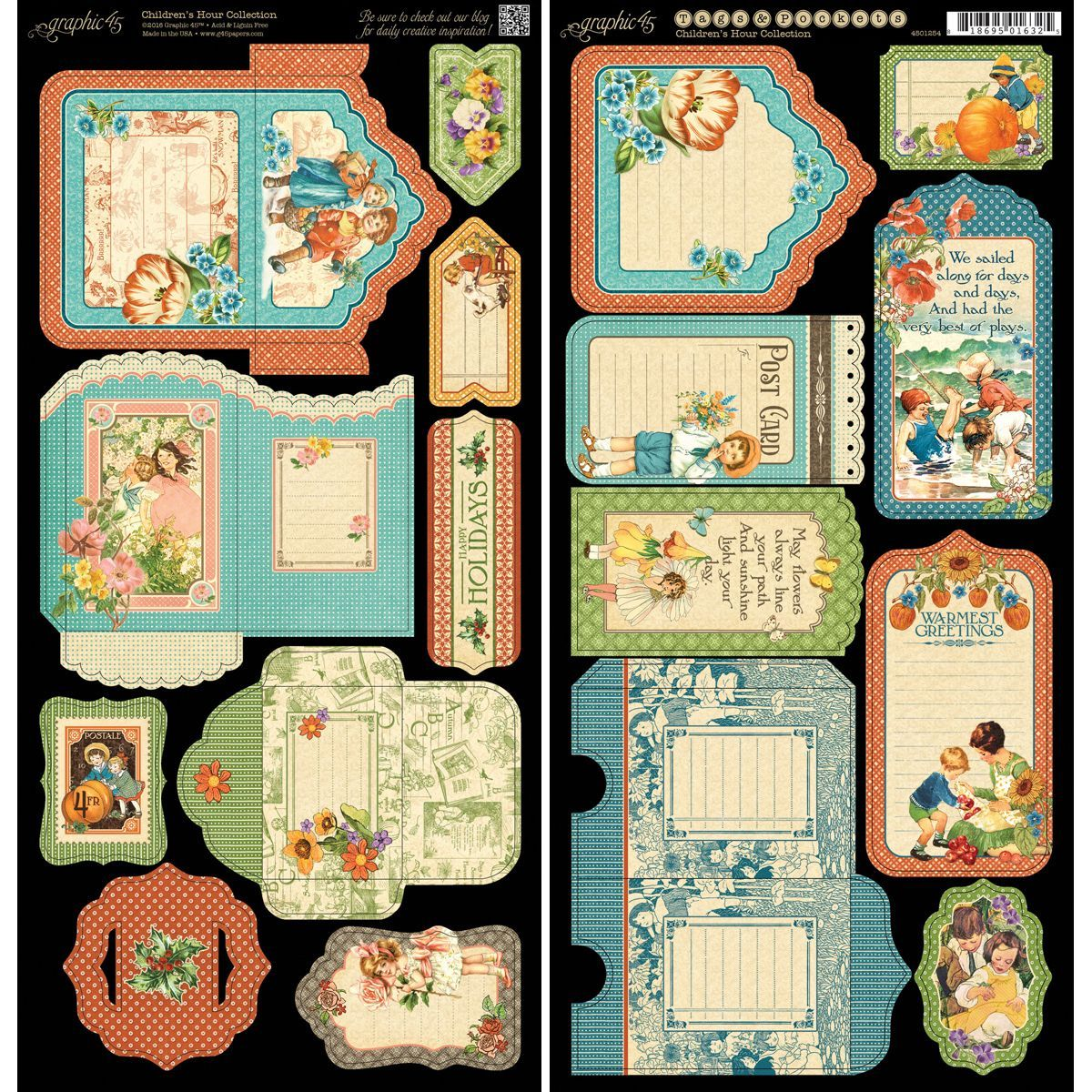 Children S Hour Cardstock Cuts 6 X12 Sheets 2 Pkg Tags Amp Pockets