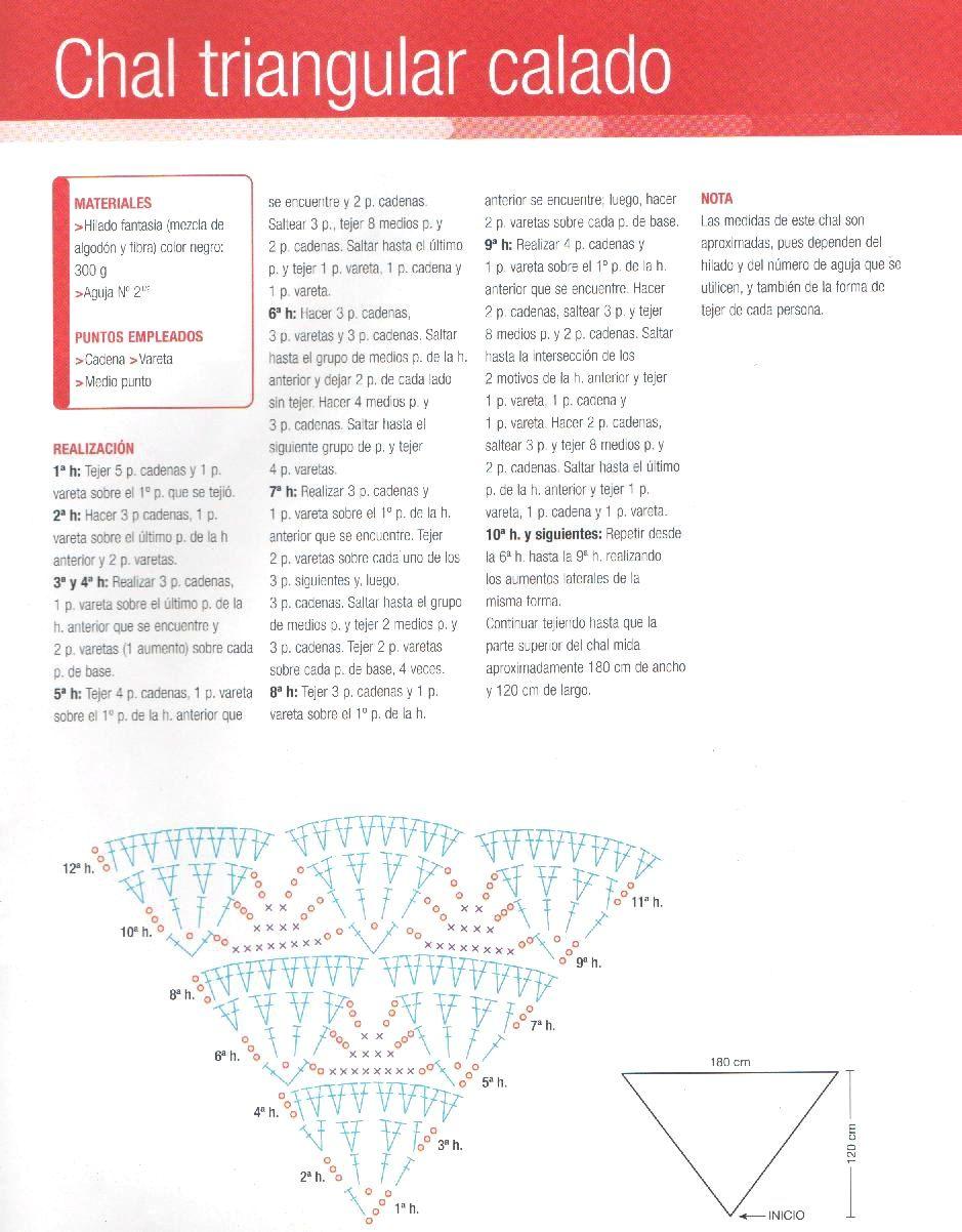 Chal triangular calado con motivos | chalina | Pinterest | Chal ...