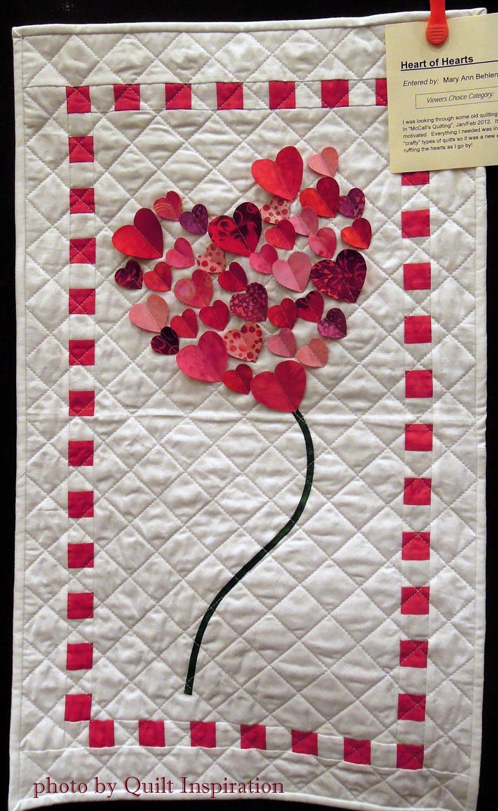 "Heart of Hearts, 18 x 30"", by Mary Ann Behlen Hruska, 2014 Contra Costa County Quilters Guild show. Pattern by Ellie Brown. Photo by Quilt Inspiration"