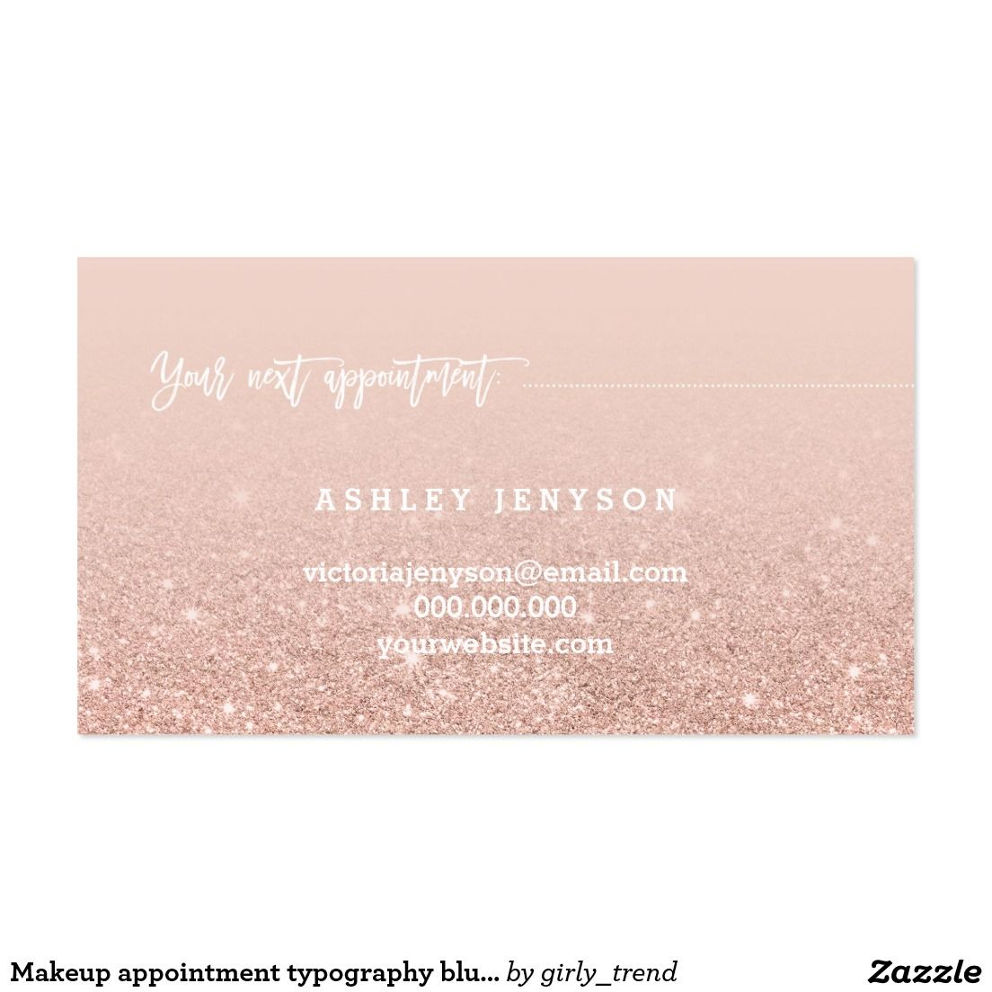 Makeup appointment typography blush rose gold business card ...