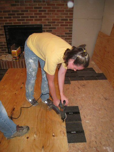 How To Level A Plywood Or Osb Subfloor Using Asphalt Shingles Construction Felt Installing Hardwood Floors Diy Flooring Wood Floors Wide Plank