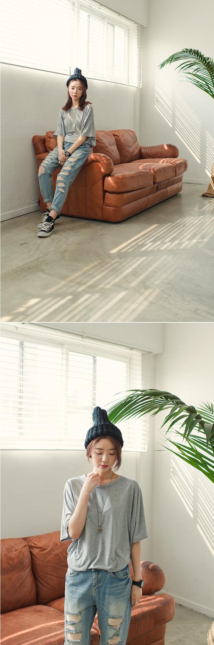 [슈가펀]프리가오리티셔츠 / 레이온100% 루즈핏 기본티셔츠 : 슈가펀