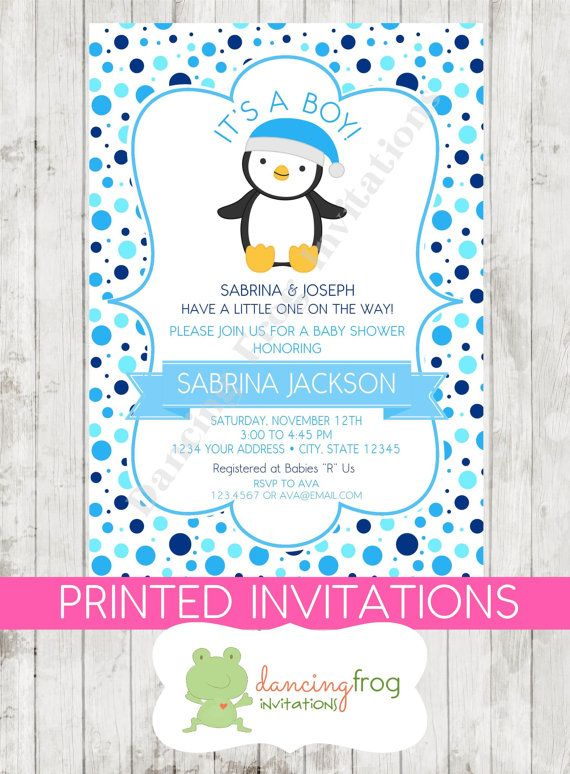 Winter Baby Shower Invitation Invite Penguin Boy Blue Chevron