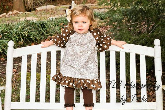 Spring.. Brown Dots and Damask Ruffle Dress.. Sz by FrillsNFluff, $32.00