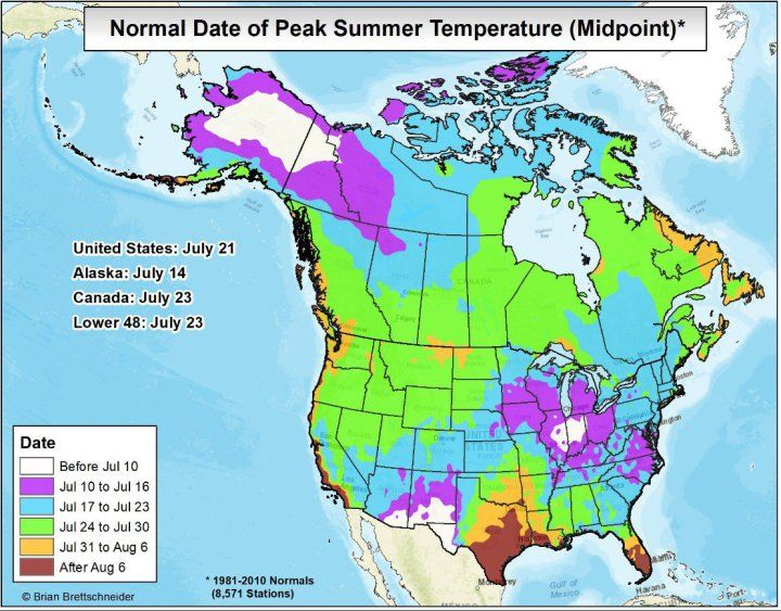 Most of the United States has reached peak summer—but not ...