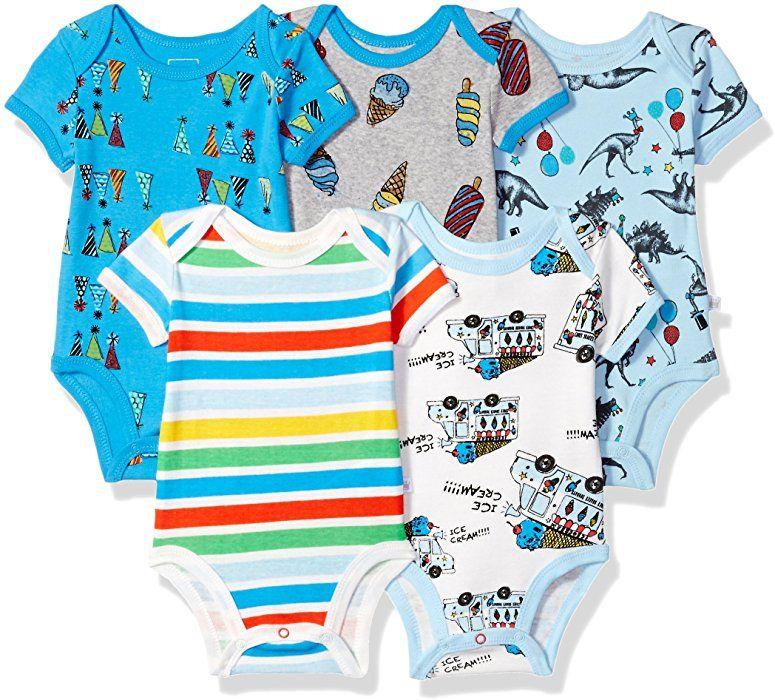FLORNO Unisex Baby Bodysuits Baby Short Sleeve Bodysuits Onesies Bodysuit Short-Sleeve Bodysuits/%100 Organic Cotton 5-Pack