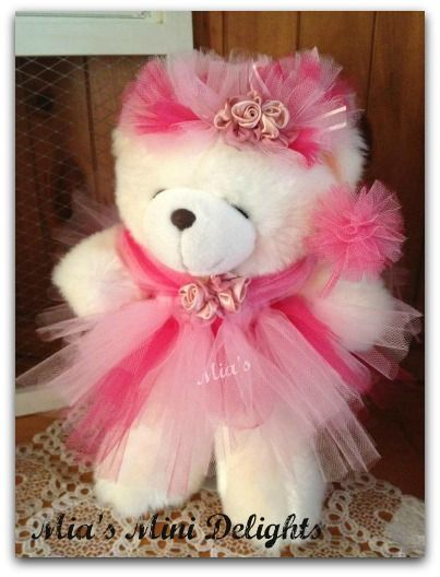 I turned this very plain bear into a Tutu Bear.  I made the tutu dress, halo and pom pom wand. #bearbedpillowdolls