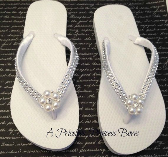 89da3cac6 White Satin Wedding Pearl   Bling Flip Flops by APricelessPrincess ...