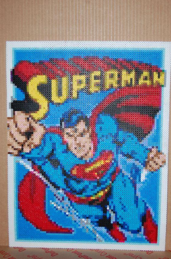 Cuadro de superman hama beads creaciones de hama beads - Hama beads cuadros ...