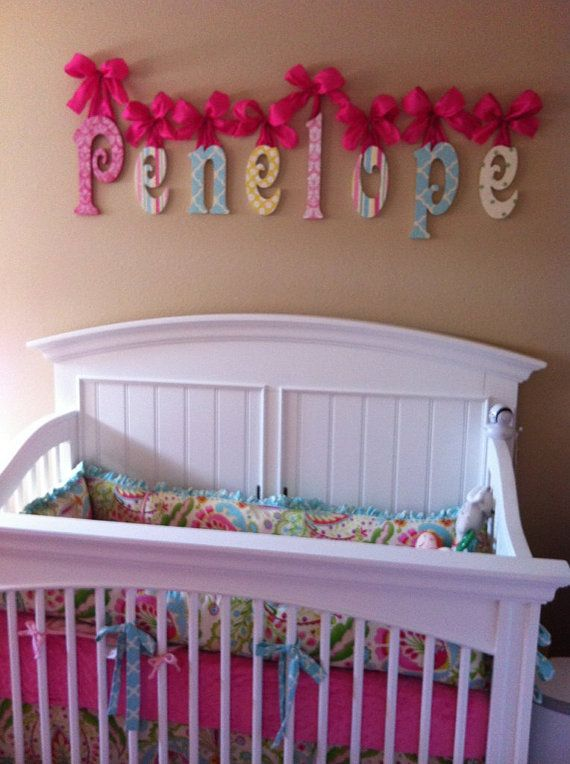 Nursery Name Sign Wooden Glittered Baby