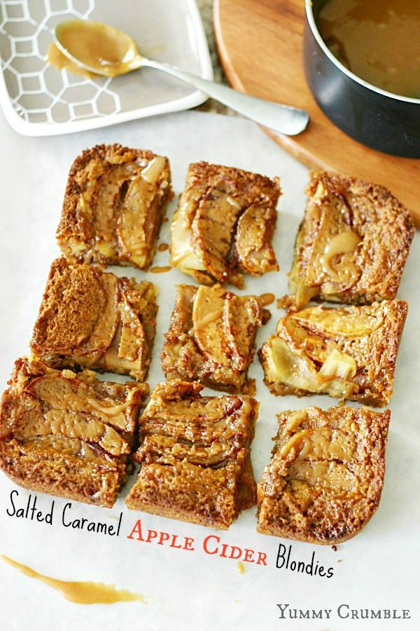 Salted Caramel Apple Cider Blondies-- this has everything we want and more. #fall #baking #caramel #apple