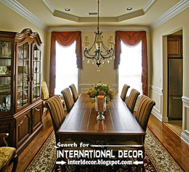 Classic English Style In The Interior Dining Room With Window Curtains
