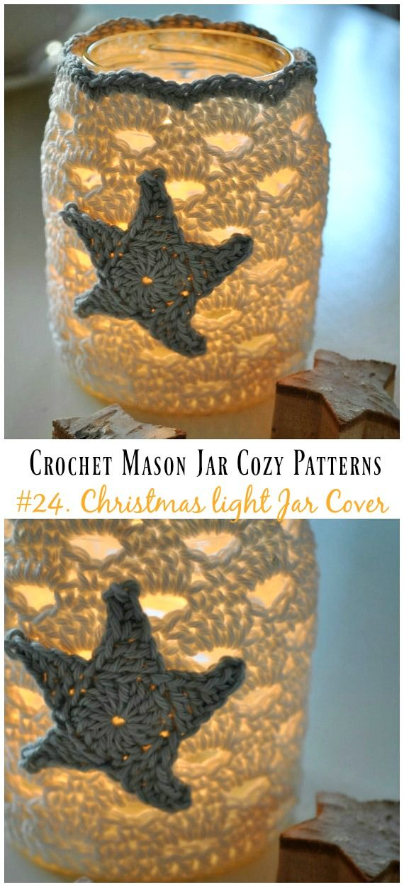 Crochet Mason Jar Cozy Free Patterns | Guggi\'s Handarbeitswand ...