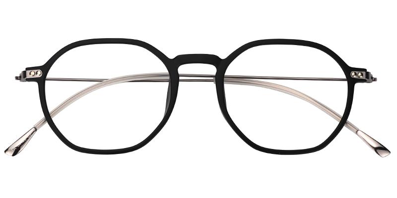 1ef1f359c4c Unisex Prescription Glasses Vicky Geometric Black Eyeglasses Frame 0573-01