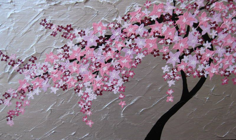 Tree Of Life Wall Art Japanese Cherry Blossom Painting Flowers Silver Pink Small Gray Cherry Blossom Watercolor Japanese Cherry Blossom Cherry Blossom Painting