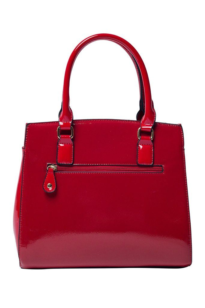 Add rich color and shine to your wardrobe with this luxurious handbag. The Celine tote has a red patent finish, beautifully carrying your most prized possessions in style! Details - Vegan and lead fre