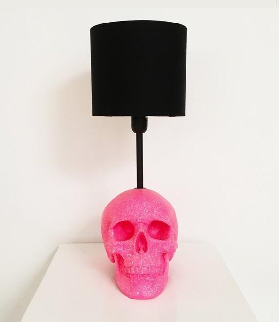 Neon Pink And White Splatter Skull Lamp // Skull D
