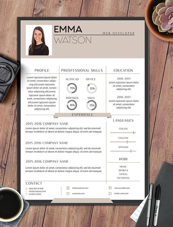 Resume Template with Photoresume templateresume template CV\u0027s