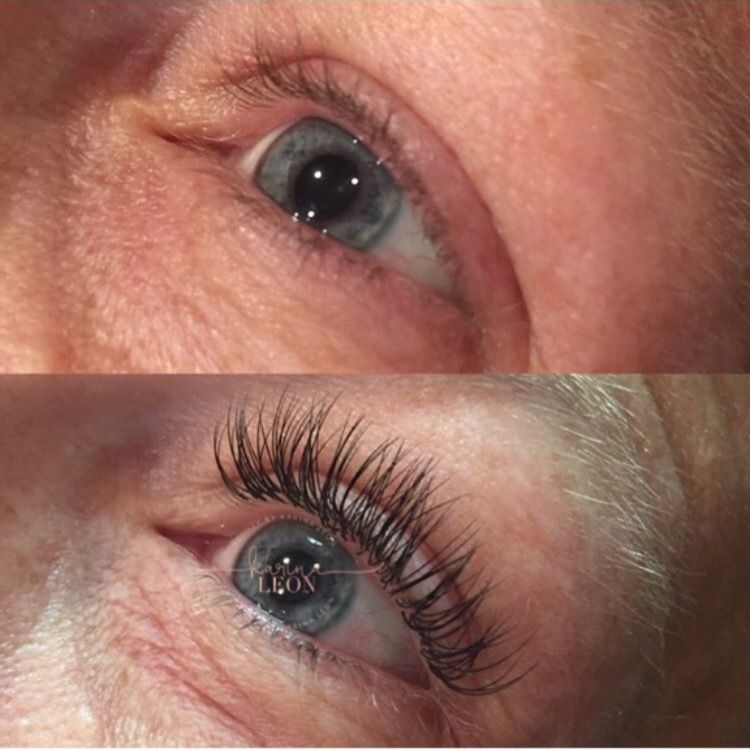 Before and after of lashes extensions