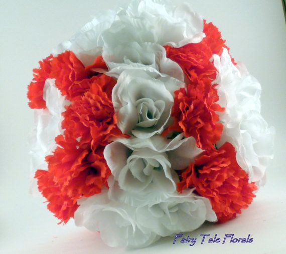 Baseball Bouquet Softball Bridal Bouquet White Roses And Red Carnations Cute And Fun For Your Baseball Theme Wedding Bridal Bouquet Red Carnation Wedding Themes