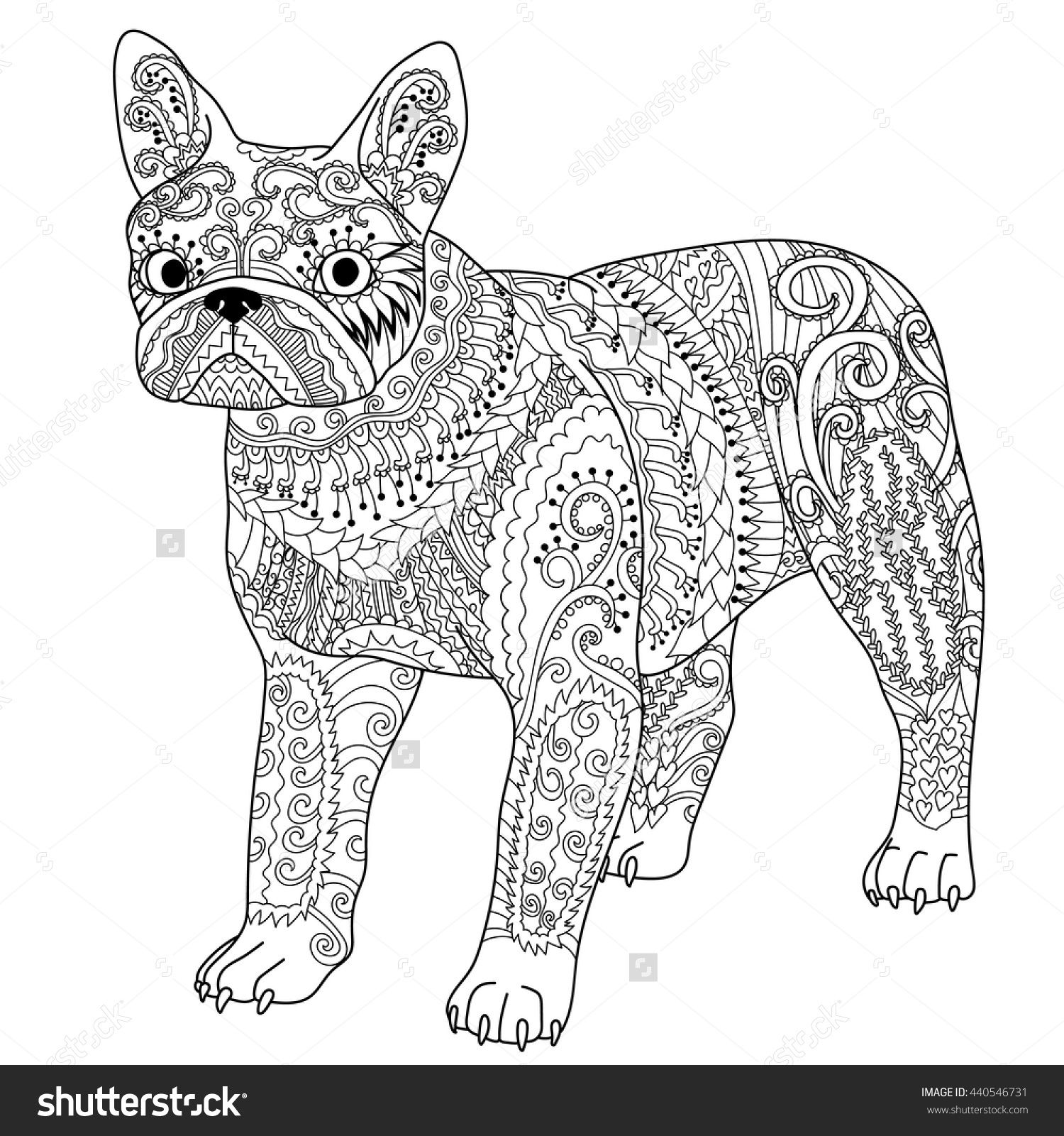 high detail patterned bulldog in zentangle style
