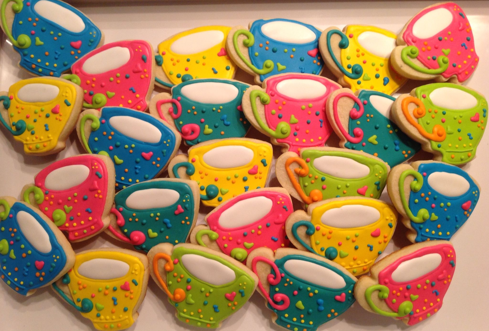 Colorful Tea Cups Decorated Sugar Cookies by I Am the Cookie Lady