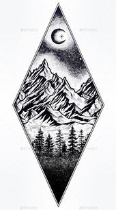 Photo of Hand drawn natural pine forest with mountain landscape, beautiful moon, sky with …
