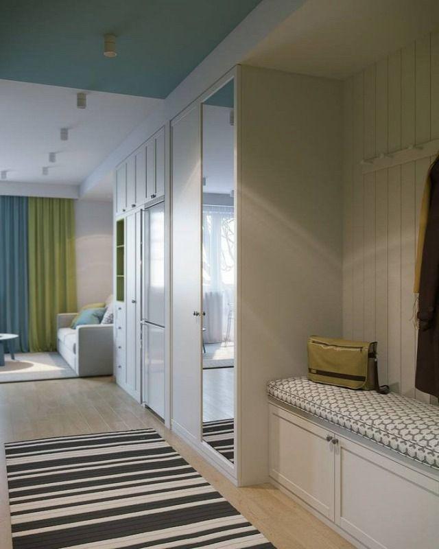 konyha nappali kicsi alapterület előtér 3D terv modern otthoni ...