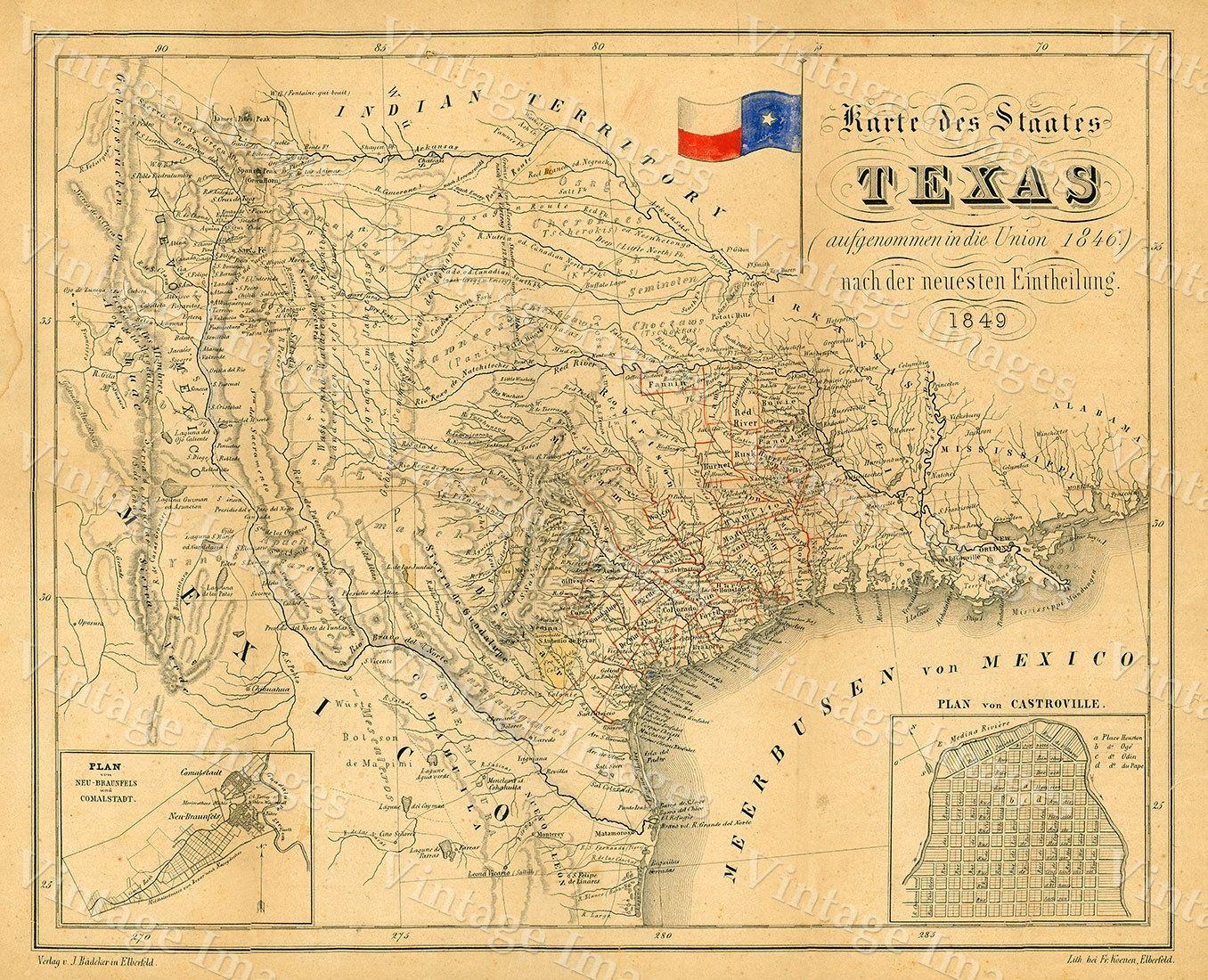 1849 Map of Texas Old Texas Map, TEXAS, Map of Texas, Vintage Map ...
