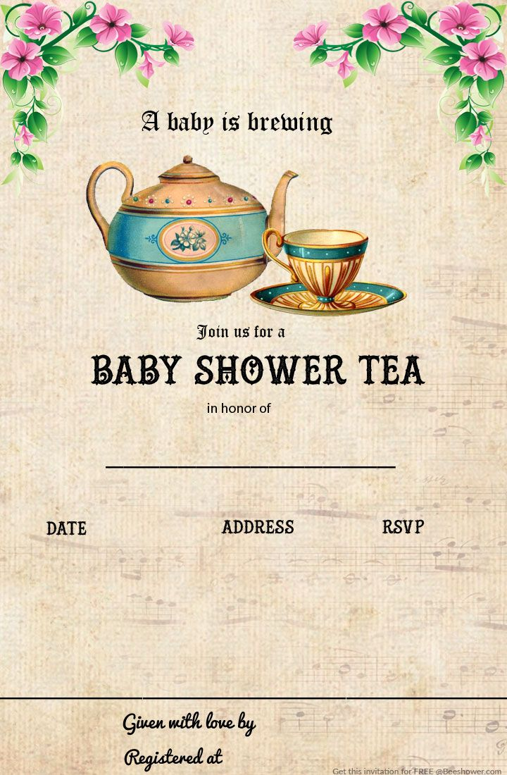 Awesome Free Printable Tea Party Baby Shower Invitation Template