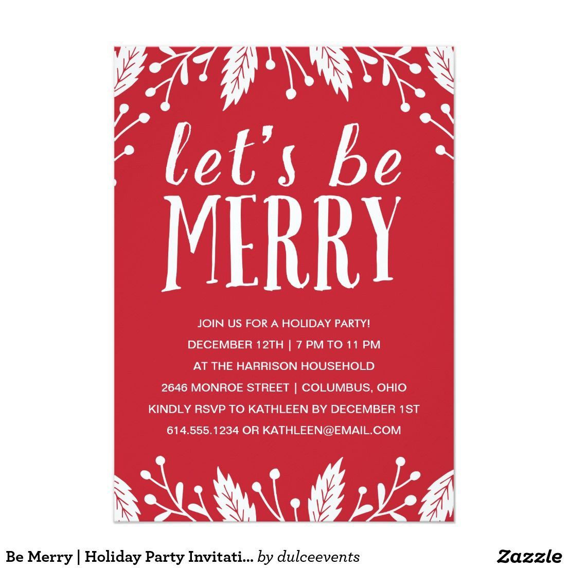 Cute holiday party invitation with hand lettering, red and white ...