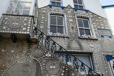 Sam Puckey's shell house, created circa 1940 in The Warren, Polperro, UK