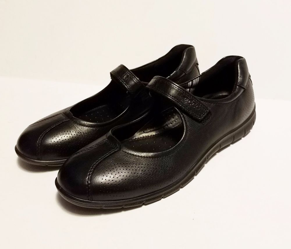 394573faaaae Ecco Womens Black Leather Mary Jane Shoes Casual Flats Velcro Size 39 US  8-8.5  ECCO  MaryJanes  CasualComfort