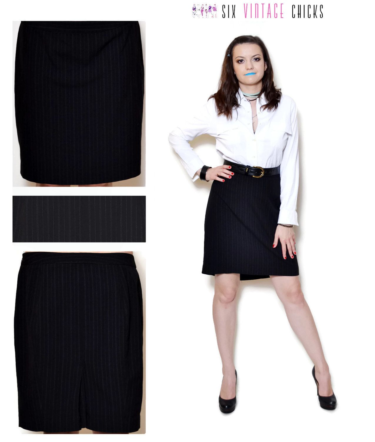 80438b4e8 Pencil Skirt Vintage high waisted skirt evening women clothing office  clothes black mini skirt 90s black and white stripe L by SixVintageChicks  on Etsy