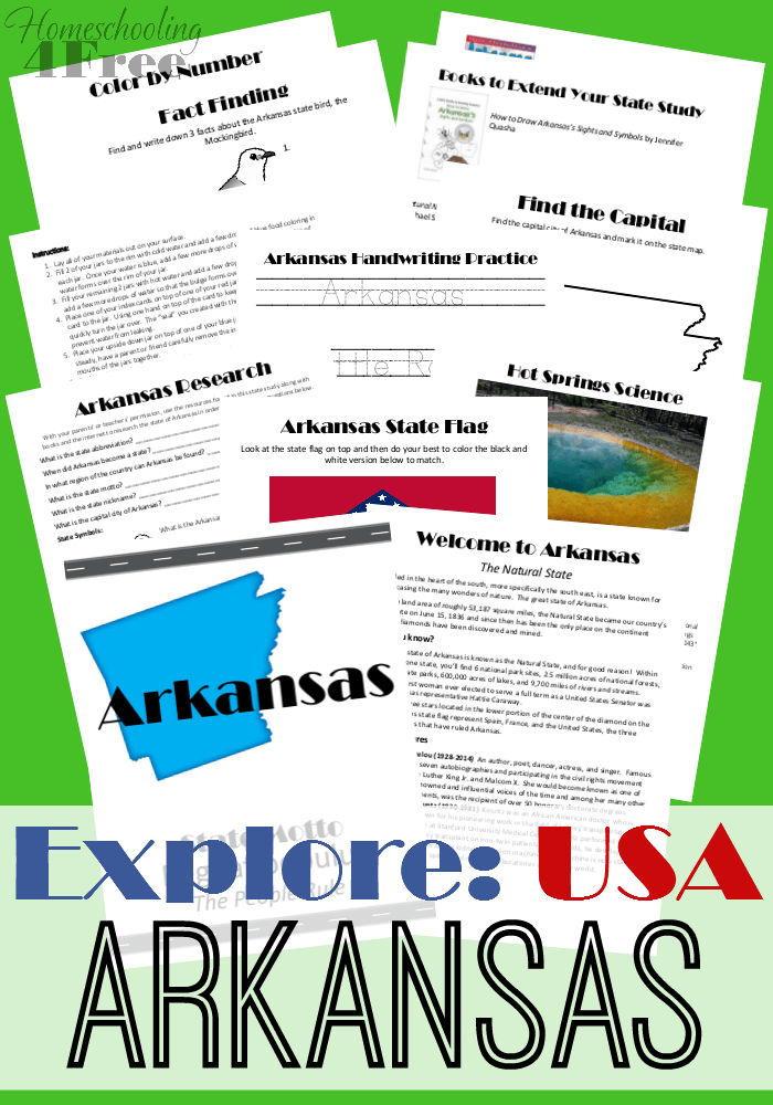 Explore USA Arkansas Learning worksheets, Homeschool