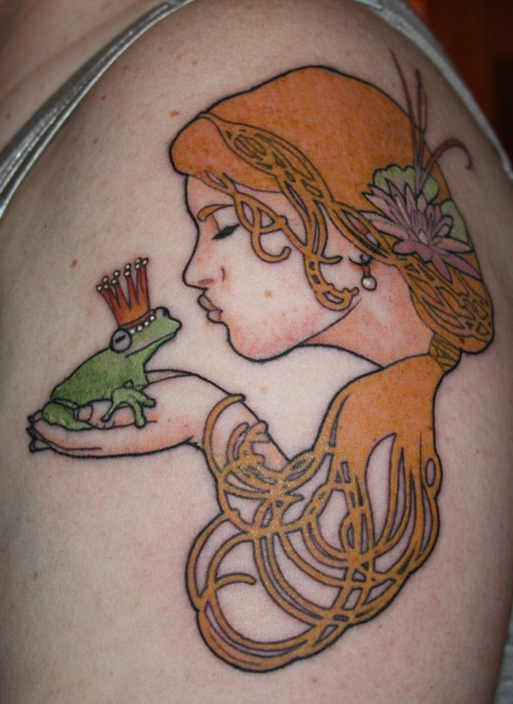 Princess and Frog tattoo done by Danny Derrick at Sink or