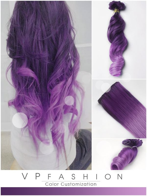 Purple And Lavender Ombre Colorful Indian Remy Clip In Hair