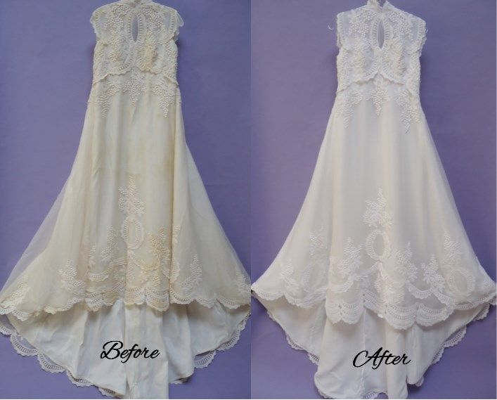 Anns wedding gown restoration turned out beautiful - from yellow to ...