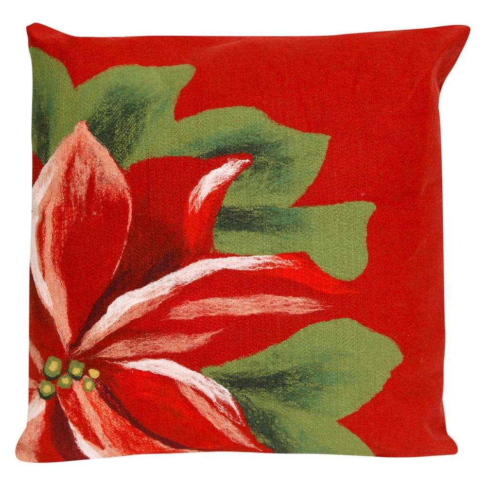 "Poinsettia Throw Indoor/Outdoor Pillow Red (20""x20"