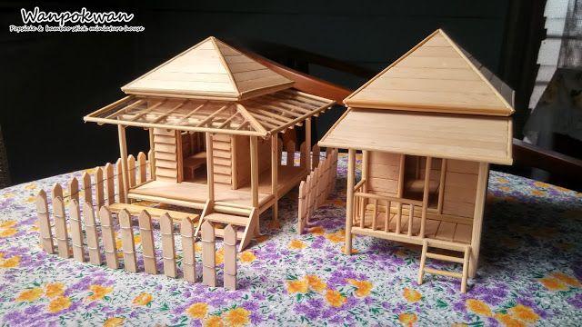 Popsicle Stick Miniature House Cottage House Miniature Houses