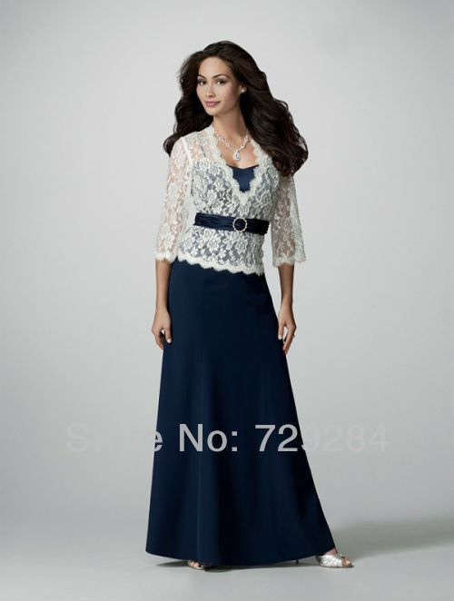6d808c61e0d White Lace Long Sleeve Jacket Navy Blue A Line Sash Pleat Mother Of The bride  Gown wedding party dress
