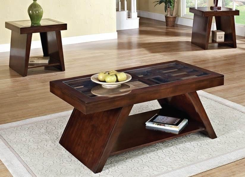 Jelani Dark Brown Cherry Coffee End Table Set 80310 Set Coffee
