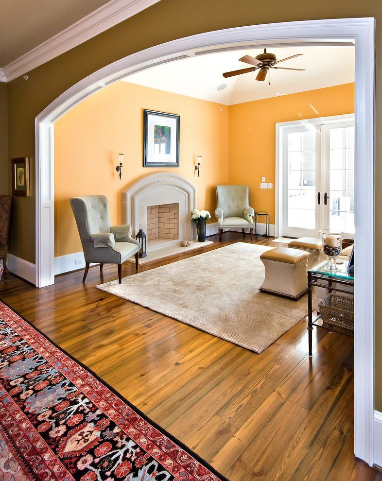 Wall arch design living room traditional with wood trim ...