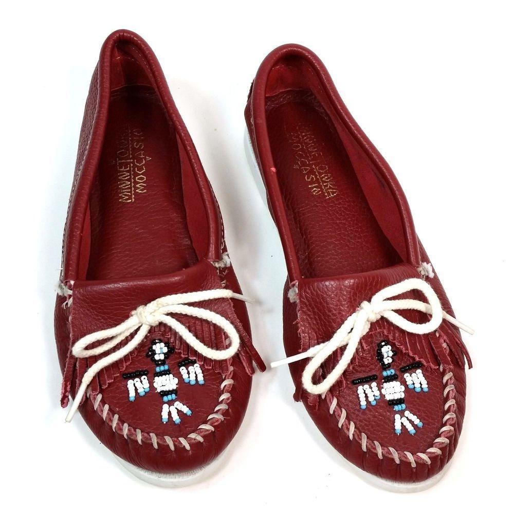 a0a8de14ce8b Minnetonka Moccasins Size 8 Red Fringe Thunderbird Beaded Slip On Shoes   Minnetonka  Moccasins  Casual
