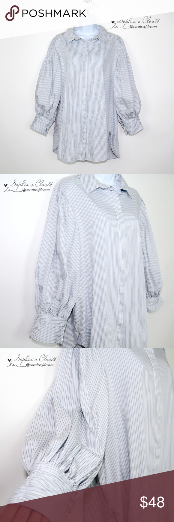 f1cb72e5 Something Navy Striped Long Puff Sleeve Blouse - Barely used, in great  condition - Size XL - 100% cotton - Shoulder to shoulder 16.5